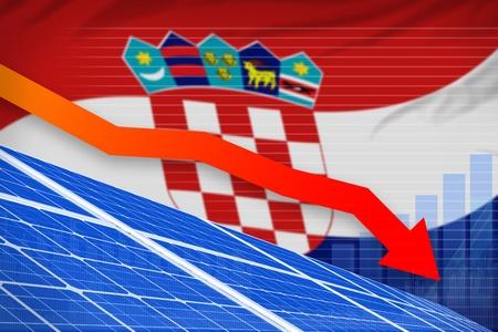 Croatia solar energy power lowering chart, arrow down  - green energy industrial illustration. 3D Illustration Stok Fotoğraf
