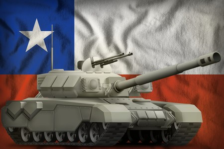 heavy tank on the Chile flag background. 3d Illustration