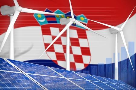 Croatia solar and wind energy digital graph concept  - alternative energy industrial illustration. 3D Illustration