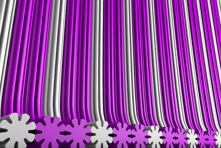 cute pink 3D Illustration of abstract background - geometric surfaces formed with extruded flower shape, holiday concept