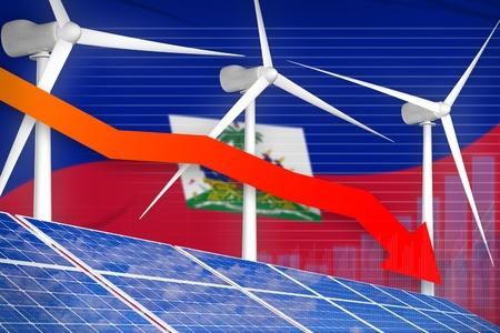 Haiti solar and wind energy lowering chart, arrow down  - environmental energy industrial illustration. 3D Illustration Stok Fotoğraf