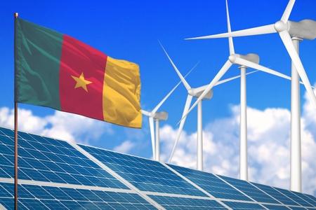 Cameroon solar and wind energy, renewable energy concept with windmills - renewable energy against global warming - industrial illustration, 3D illustration Reklamní fotografie