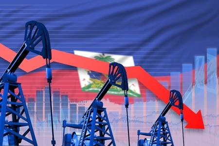 Haiti oil industry concept, industrial illustration - lowering, falling graph on Haiti flag background. 3D Illustration