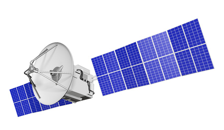 Industrial illustration of cosmic satellite with large sun panels isolated on white background - 3D Illustration