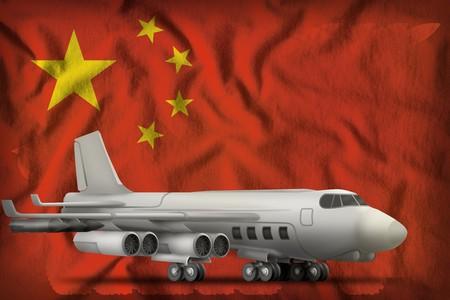 bomber on the China flag background. 3d Illustration