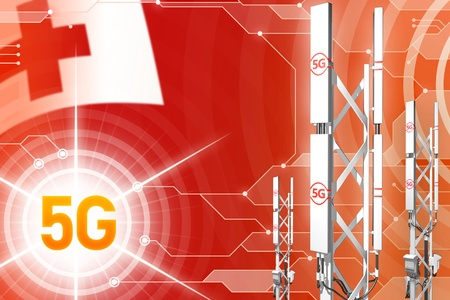 Tonga 5G network industrial illustration, huge cellular tower or mast on hi-tech background with the flag - 3D Illustration