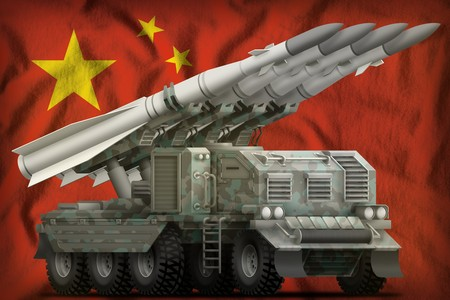tactical short range ballistic missile with arctic camouflage on the China flag background. 3d Illustration