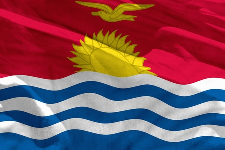 Fluttering Kiribati flag for using as texture or background, the flag is waving on the wind