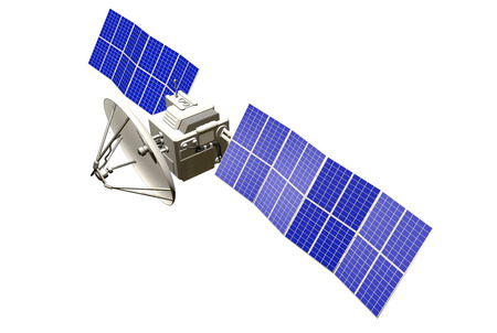 Industrial illustration of orbital satellite with large solar power panels isolated on white - 3D Illustration Reklamní fotografie