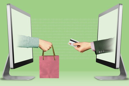 digital concept, hands from laptops. hand with shopping bag and hand with credit card . 3d illustration