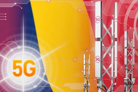 Chad 5G network industrial illustration, big cellular tower or mast on digital background with the flag - 3D Illustration Stockfoto - 120722002