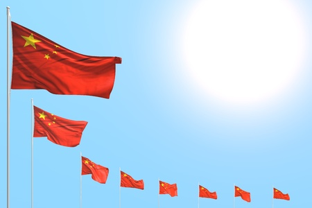 wonderful many China flags placed diagonal on blue sky with place for your content - any occasion flag 3d illustration