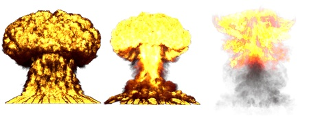 3 huge high detailed different phases mushroom cloud explosion of nuke bomb with smoke and fire isolated on white - 3D illustration of explosion