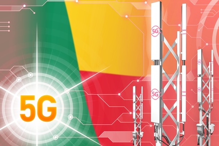 Benin 5G network industrial illustration, large cellular tower or mast on modern background with the flag - 3D Illustration