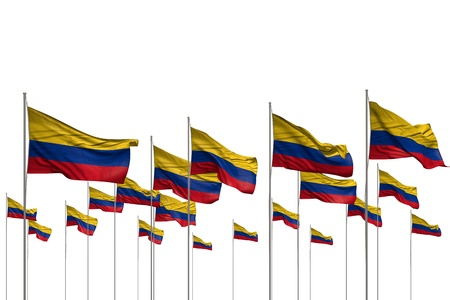 cute memorial day flag 3d illustration  - many Colombia flags in a row isolated on white with empty space for content Stok Fotoğraf