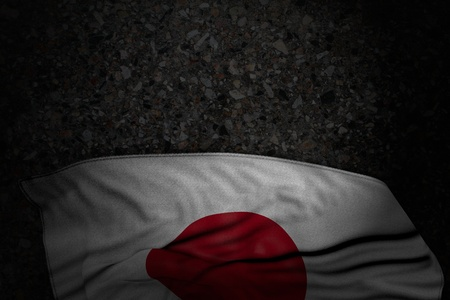 cute any feast flag 3d illustration  - dark picture of Japan flag with big folds on dark asphalt with empty place for your text Stock Photo