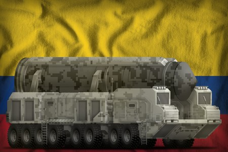 intercontinental ballistic missile with city camouflage on the Colombia flag background. 3d Illustration