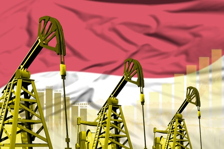 Indonesia oil and petrol industry concept, industrial illustration on Indonesia flag background. 3D Illustration