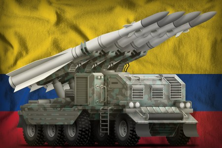 tactical short range ballistic missile with arctic camouflage on the Colombia flag background. 3d Illustration