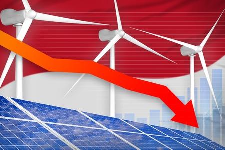 Indonesia solar and wind energy lowering chart, arrow down  - alternative energy industrial illustration. 3D Illustration Stok Fotoğraf