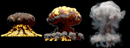 3 big different phases fire mushroom cloud explosion of nuke bomb with smoke and flames isolated on black background - 3D illustration of explosion Imagens