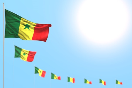 nice holiday flag 3d illustration  - many Senegal flags placed diagonal with soft focused and free place for your text