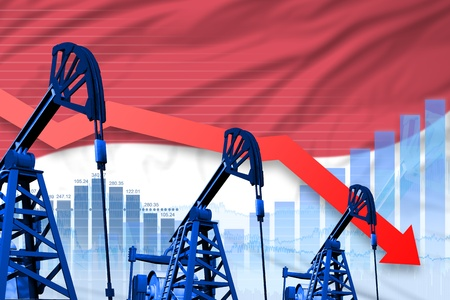 Indonesia oil industry concept, industrial illustration - lowering, falling graph on Indonesia flag background. 3D Illustration Stock Photo