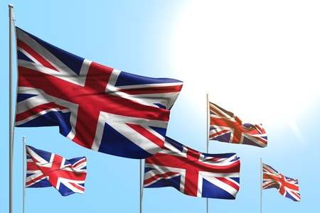 pretty anthem day flag 3d illustration  - 5 flags of United Kingdom (UK) are wave on blue sky background