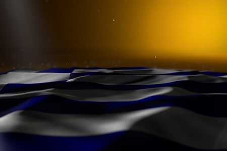 nice anthem day flag 3d illustration  - dark photo of Greece flag lay on yellow background with soft focus and empty space for text