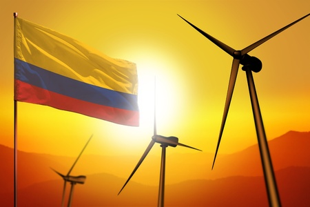 Colombia wind energy, alternative energy environment concept with turbines and flag on sunset - alternative renewable energy - industrial illustration, 3D illustration