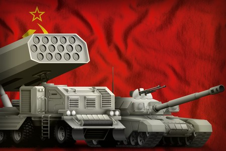 tank and missile launcher on the Soviet Union (SSSR, USSR) flag background. Soviet Union (SSSR, USSR) heavy military armored vehicles. 9 May, Victory Day concept. 3d Illustration Reklamní fotografie