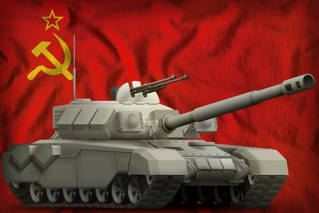 heavy tank on the Soviet Union (SSSR, USSR) flag background. 9 May, Victory day concept. 3d Illustration