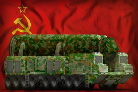 intercontinental ballistic missile with green camouflage on the Soviet Union (SSSR, USSR) flag background. 9 May, Victory day concept. 3d Illustration