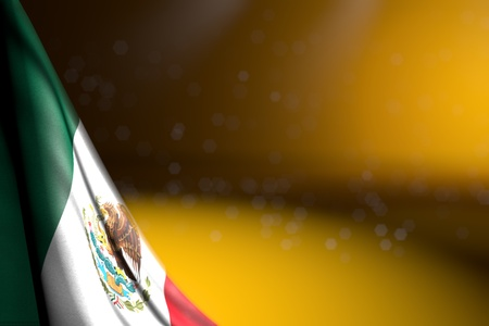 wonderful any holiday flag 3d illustration  - picture of Mexico flag hanging in corner on yellow with selective focus and empty space for your content