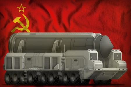 intercontinental ballistic missile on the Soviet Union (SSSR, USSR) flag background. 9 May, Victory day concept. 3d Illustration