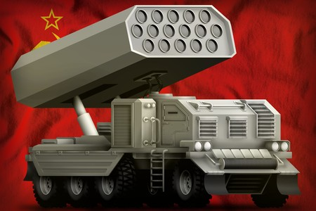 rocket artillery, missile launcher on the Soviet Union (SSSR, USSR) flag background. 9 May, Victory day concept. 3d Illustration