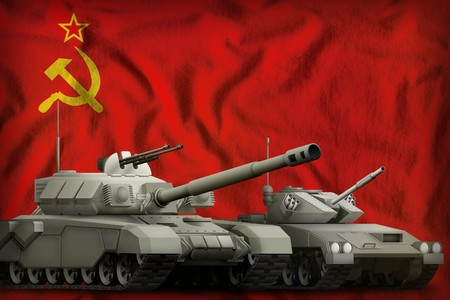 tanks on the Soviet Union (SSSR, USSR) flag background. Soviet Union (SSSR, USSR) tank forces. 9 May, Victory Day concept. 3d Illustration