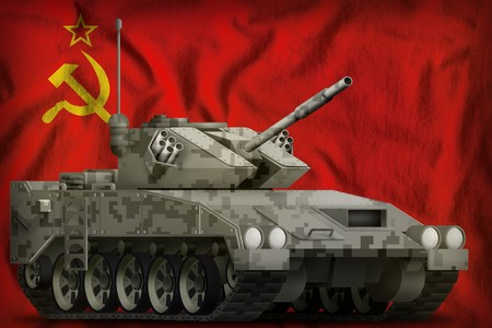 light tank apc with pixel city camouflage on the Soviet Union (SSSR, USSR) flag background. 9 May, Victory day concept. 3d Illustration Reklamní fotografie