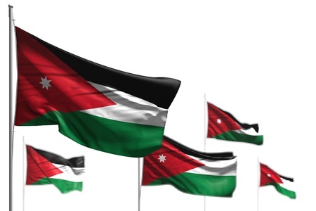 cute five flags of Jordan are wave isolated on white - illustration with selective focus - any holiday flag 3d illustration