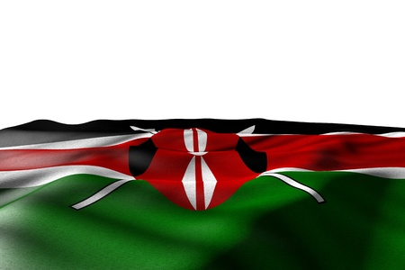 beautiful anthem day flag 3d illustration  - mockup picture of Kenya flag lie with perspective view isolated on white with place for content