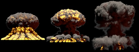 3 huge different phases fire mushroom cloud explosion of nuclear bomb with smoke and flames isolated on black background - 3D illustration of explosion