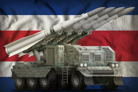 tactical short range ballistic missile with arctic camouflage on the Costa Rica flag background. 3d Illustration Banco de Imagens