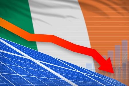 Ireland solar energy power lowering chart, arrow down  - modern energy industrial illustration. 3D Illustration Stock Photo