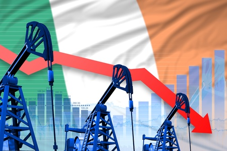 Ireland oil industry concept, industrial illustration - lowering, falling graph on Ireland flag background. 3D Illustration