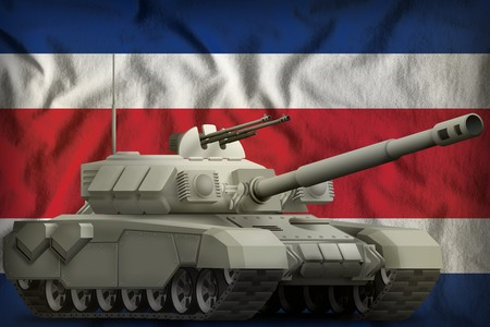 heavy tank on the Costa Rica flag background. 3d Illustration