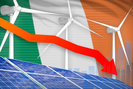 Ireland solar and wind energy lowering chart, arrow down  - alternative energy industrial illustration. 3D Illustration