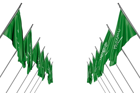 pretty anthem day flag 3d illustration  - many Saudi Arabia flags hangs on diagonal poles from left and right sides isolated on white 스톡 콘텐츠