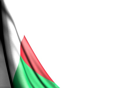 wonderful celebration flag 3d illustration  - isolated photo of Madagascar flag hangs in corner - mockup on white with place for text