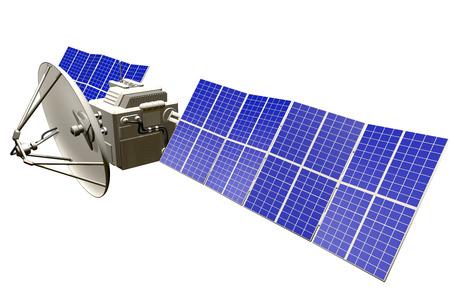 Industrial illustration of space satellite with huge solar panels isolated on white - 3D Illustration Reklamní fotografie