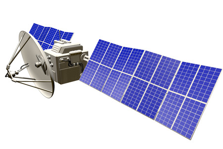 Industrial illustration of space satellite with huge solar panels isolated on white - 3D Illustration Stock Photo